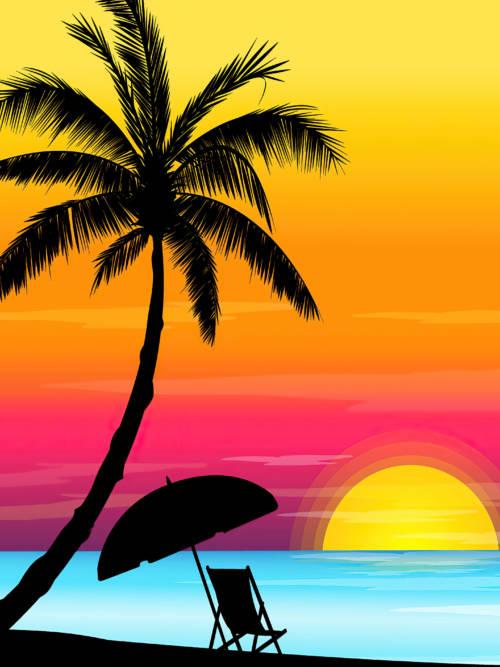 Papel de parede do Vetor do pôr do sol na praia para celulares e tablets