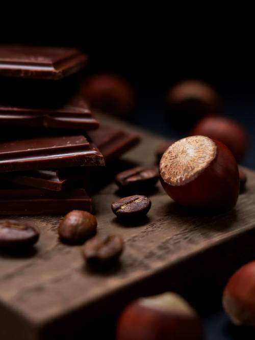 Chocolate with coffee and nuts wallpaper