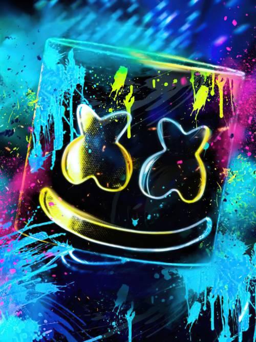 DJ Marshmello painted wallpaper