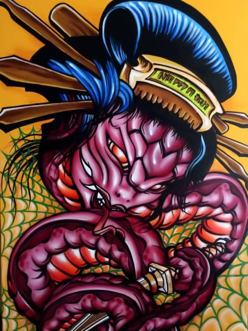 Papel de parede de Desenho de cobra japonesa