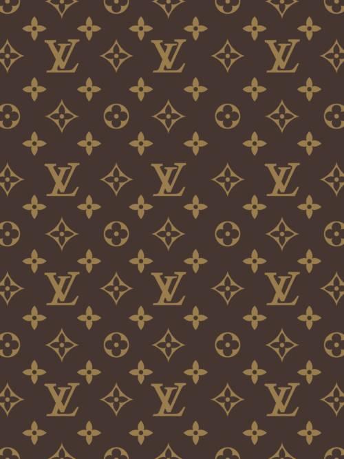 Papel de parede do Louis Vuitton padrão marrom para celulares e tablets