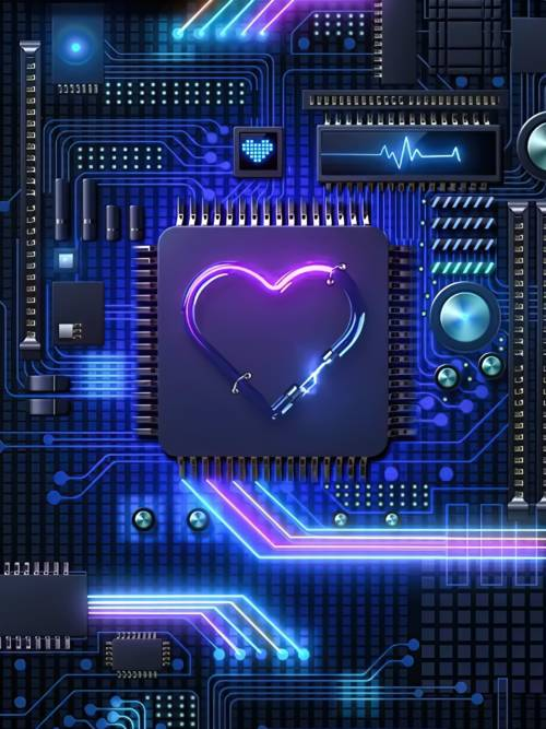 Motherboard heart wallpaper