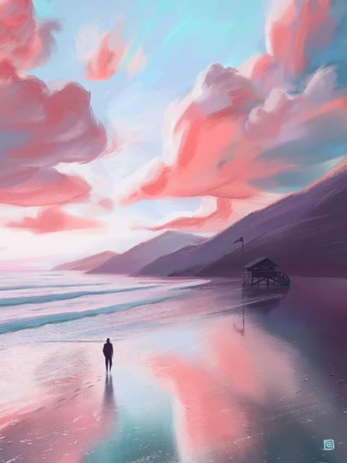 Malerei an der Küste wallpaper
