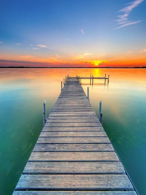 Fond d'écran de Coucher de soleil sur le lac pour mobiles et tablettes