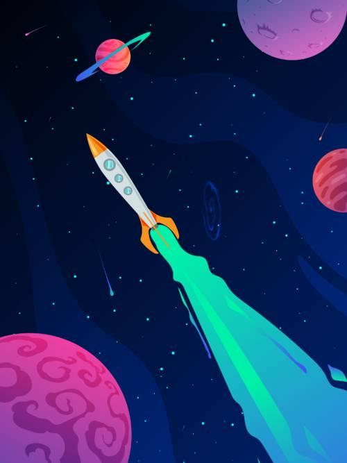 Vektor rakete im Weltraum wallpaper