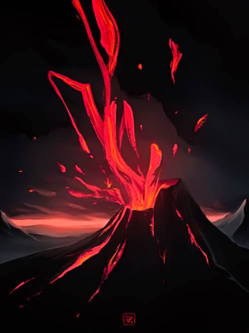 Fond d'écran de Dessin en éruption de volcan