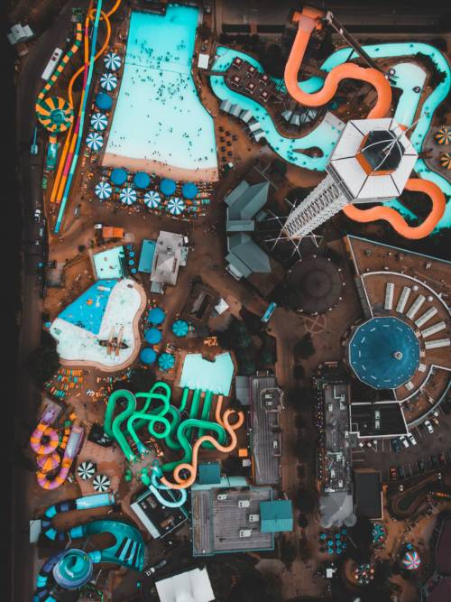 Water park aerial view wallpaper