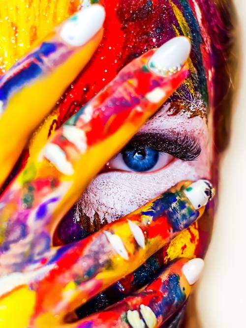 Woman with painted face wallpaper